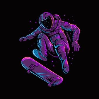 Astronaut jumping skateboard on space isolated dark