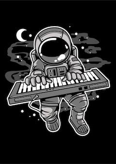 Astronaut keyboard cartoon character