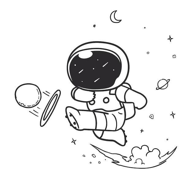 Astronaut kicks a planet