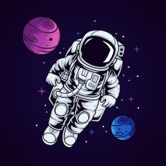 공간에서 우주 비행사 아이