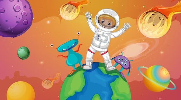 Ragazzo astronauta con alieni in piedi sulla terra nella scena spaziale