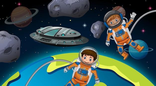 우주 장면에서 우주 비행사 아이