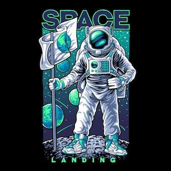 Astronaut landing on spac illustration