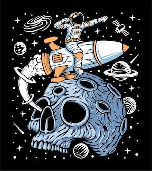 宇宙飛行士はロケットのイラストで惑星の頭蓋骨を残します