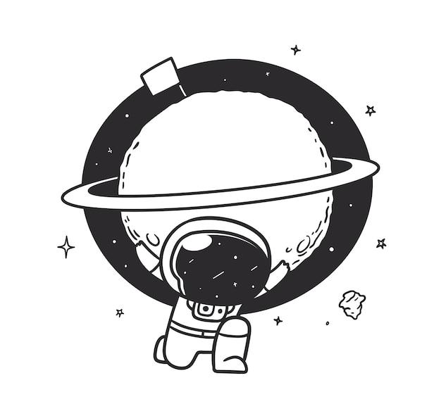Космонавт поднимает сатурн на плечах в космосе