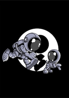 Astronaut and little dog cartoon character