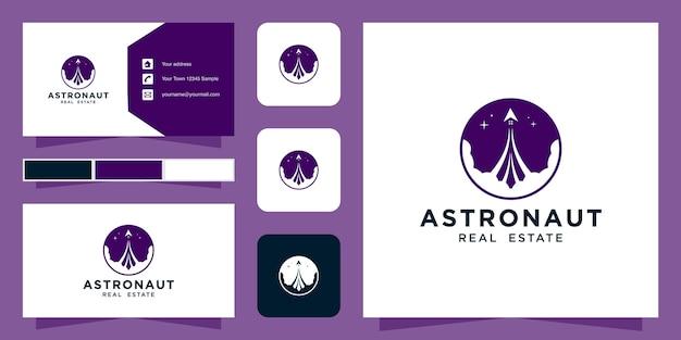 宇宙飛行士のロゴのテンプレートと名刺