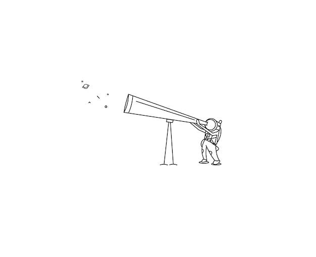 Astronaut looks through the telescope to universe - flat line art design illustration.