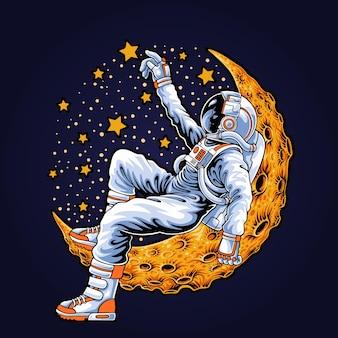 Astronaut lying on the moon illustration