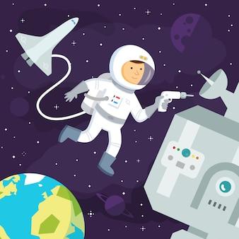 Астронавт делает ремонт в космосе