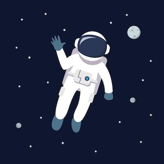 공간에 떠있는 우주 비행사 남자. 스타와 은하계 배경에 행성. 플랫 스타일 일러스트
