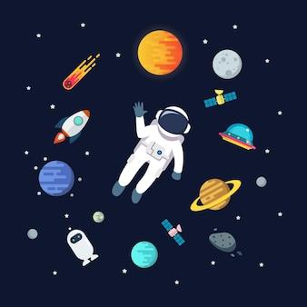 Человек-космонавт, плавающий в космосе с фоном планет. звезда и планеты на фоне галактики. плоский стиль иллюстрации