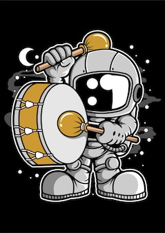 Astronaut marching band cartoon character