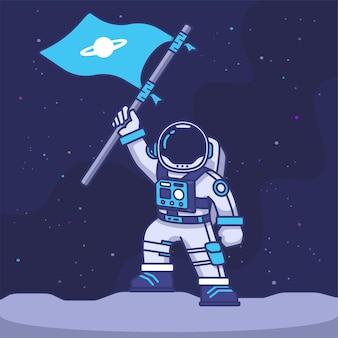 Персонаж-талисман астронавта поднимает флаг на луне с иллюстрацией галактики