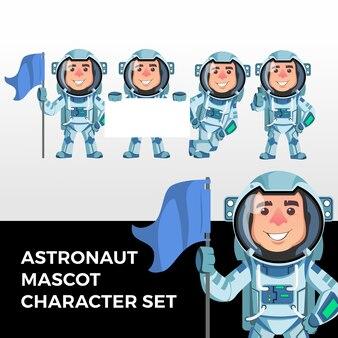 宇宙飛行士のマスコット文字セットのロゴ