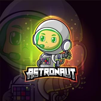 Космонавт талисман киберспорт красочный логотип