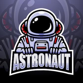 Космонавт талисман киберспорт иллюстрация