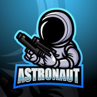 宇宙飛行士のマスコットeスポーツイラスト