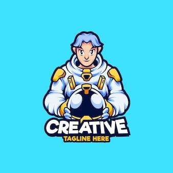 宇宙飛行士のマスコットのロゴデザインイラスト