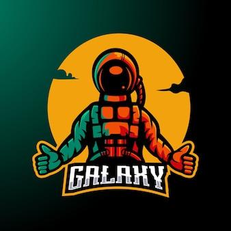 Вектор дизайна логотипа талисмана астронавта с современным стилем концепции иллюстрации для значка, эмблемы и одежды. galaxy для киберспорта, команды или игр
