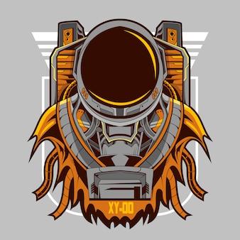 Astronaut mecha robot illustration on light background