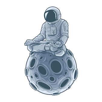 Astronaut meditation sitting on the moon. .