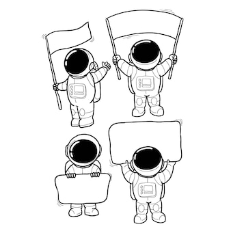 Astronaut message hand drawn