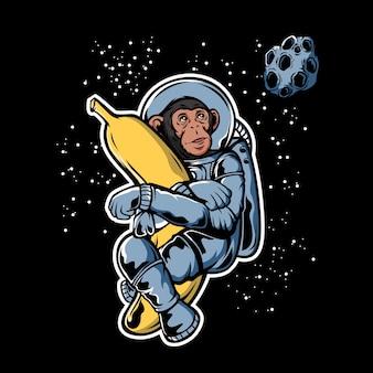 Astronaut monkey hugging banana in space