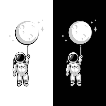 Astronaut moon balloon illustrations
