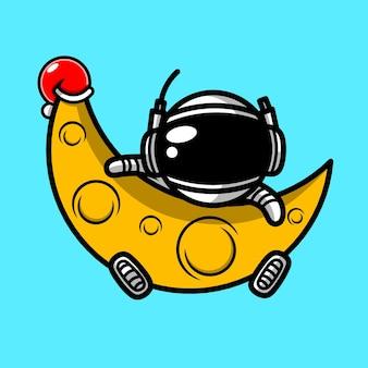 Astronaut and moon character kawaii designs