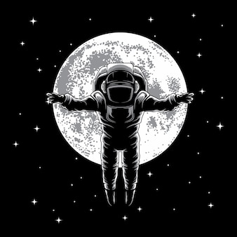 Astronaut on the moon illustration vector