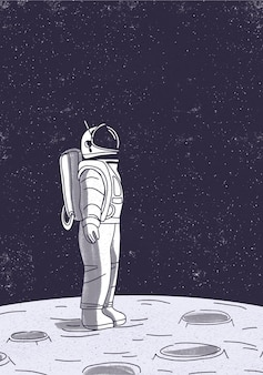 Astronaut on moon surface illustration.