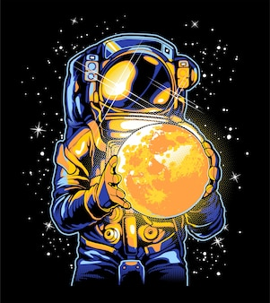 Astronaut and the moon