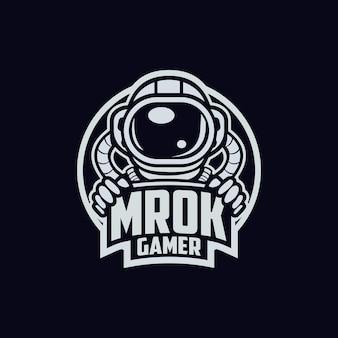 우주 비행사 mrok 게이머 로고 디자인