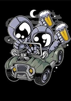우주 비행사 오프로드 만화 캐릭터