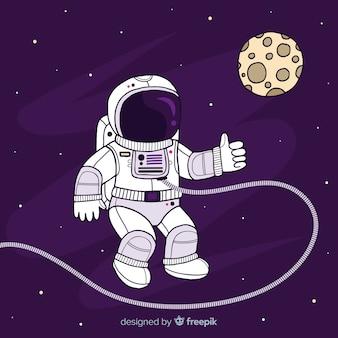 Космонавт на фоне луны