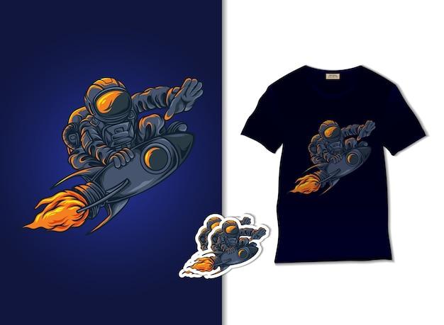 Астронавт на ракете иллюстрации с дизайном футболки, рисованной
