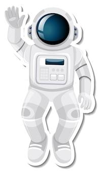 ステッカースタイルの宇宙飛行士または宇宙飛行士の漫画のキャラクター 無料ベクター