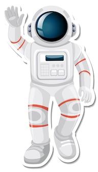 스티커 스타일의 우주 비행사 또는 우주인 만화 캐릭터