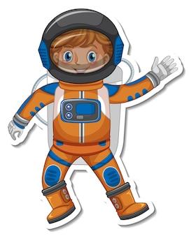 ステッカースタイルの宇宙飛行士または宇宙飛行士の漫画のキャラクター