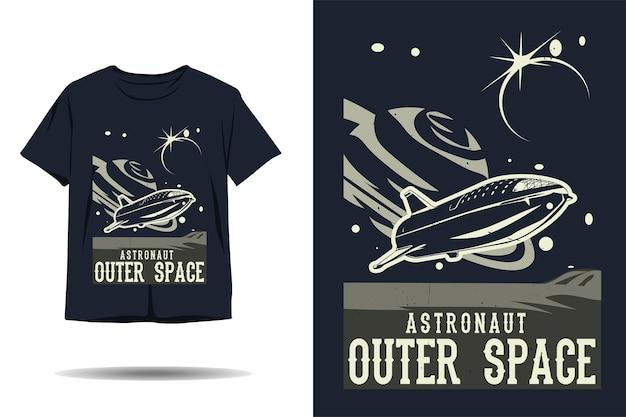 우주 비행사 우주 공간 실루엣 tshirt 디자인