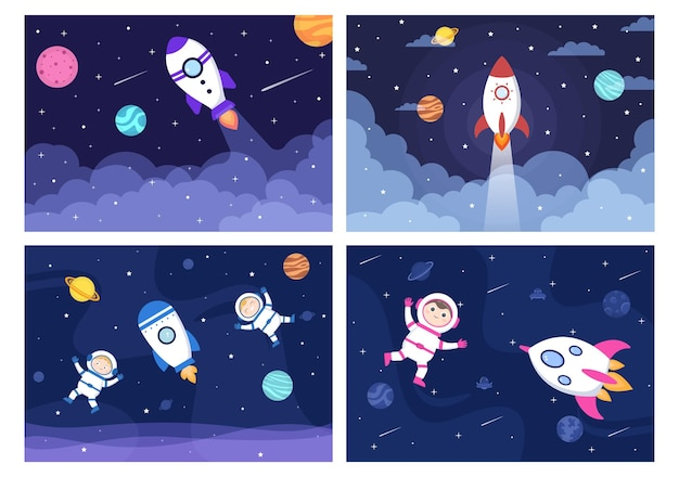 Astronaut in outer space with rocket illustration