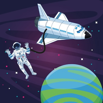 Astronaut outside spacecraft space exploration
