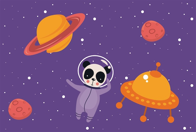 Astronaut panda in the space
