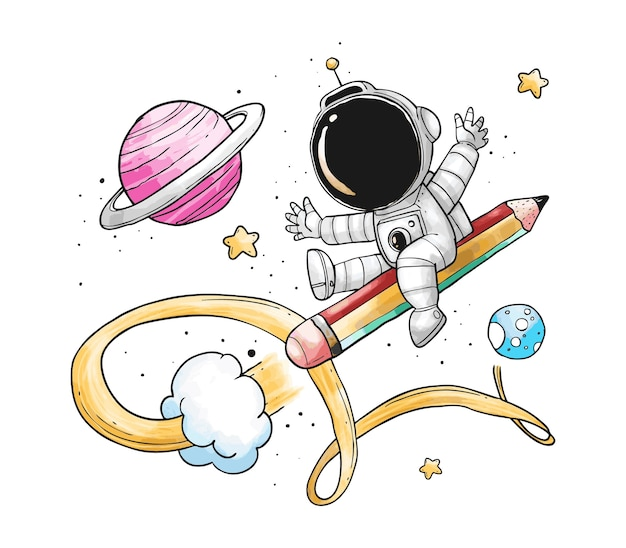 Astronaut pencil rocket cartoon