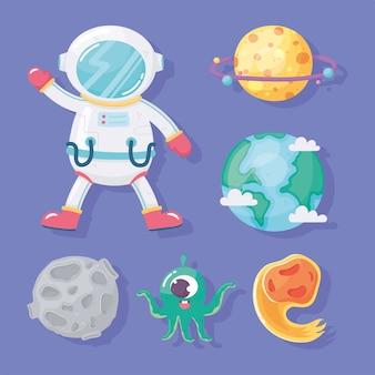 漫画風イラストの宇宙飛行士惑星彗星地球月とエイリアン宇宙銀河