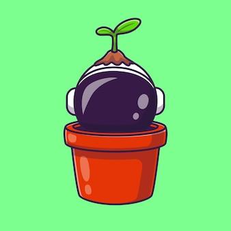 Astronaut plant in pot cartoon vector icon illustration. science natute icon concept isolated premium vector. flat cartoon style