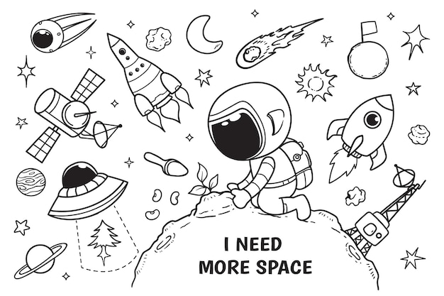 Astronaut and plants doodle