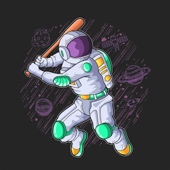 Astronaut play base ball in the galaxy illustration
