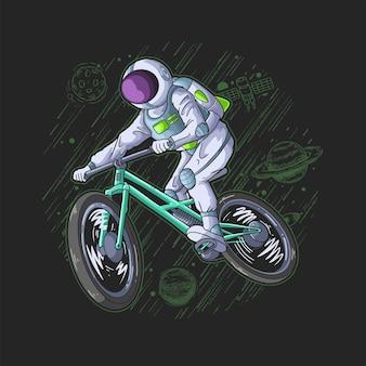 Космонавт играет на велосипеде в небе